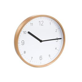 WALL CLOCK, WOOD, WHITE FACE