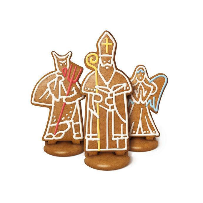 SET OF COOKIE CUTTERS, GINGERBREAD ST. NICHOLAS, ANGEL AND DEVIL