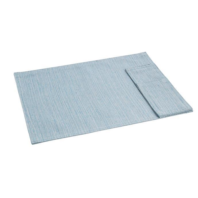 FABRIC PLACE MAT WITH POCKET FOR CUTLERY, blue