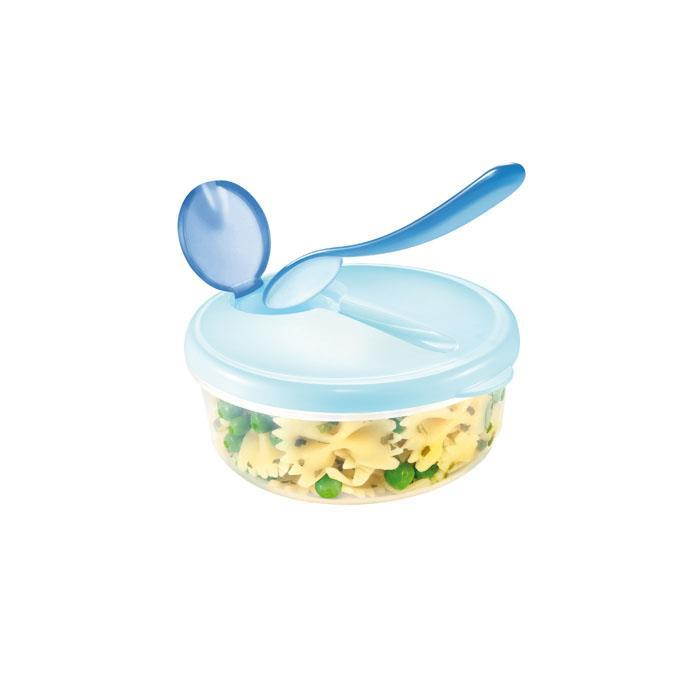 TRAVEL DISH WITH SPOON, BLUE