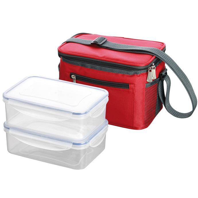 THERMAL-INSULATING LUNCH BAG, WITH 2 CONTAINERS