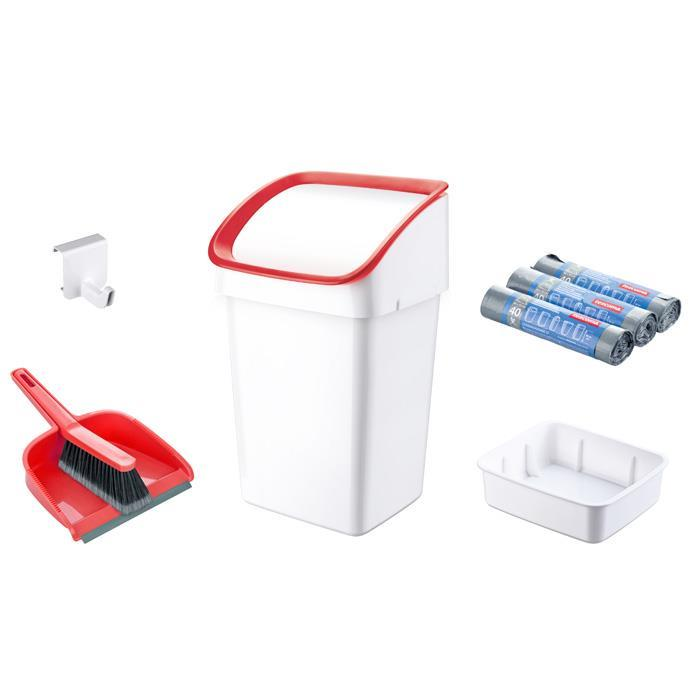 DUSTBIN WITH BRUSH, DUSTPAN AND BAGS