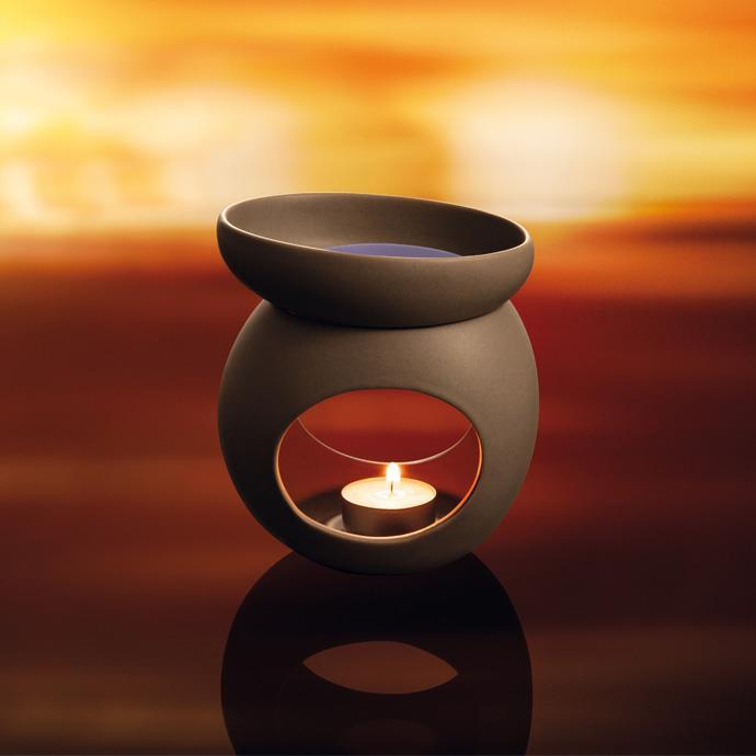 AROMA LAMP FOR SCENTED WAX, STONES, GREY