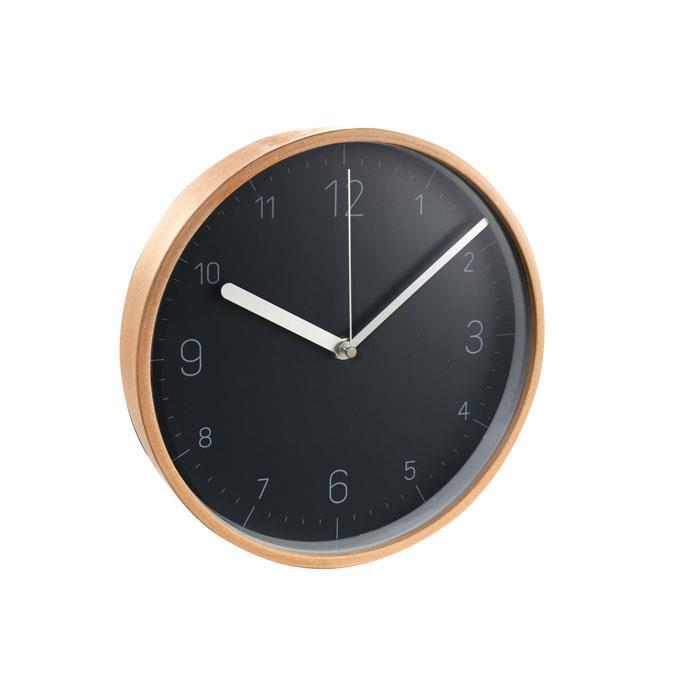 WALL CLOCK, WOOD, BLACK FACE